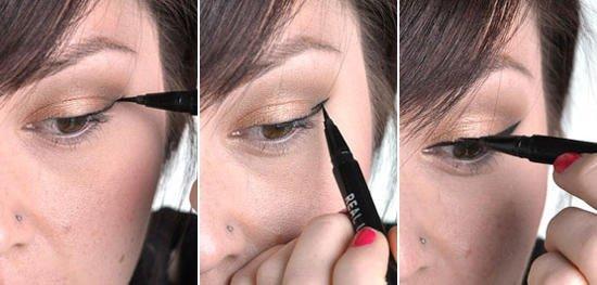 Применение лайнера для рисования стрелок на глазах
