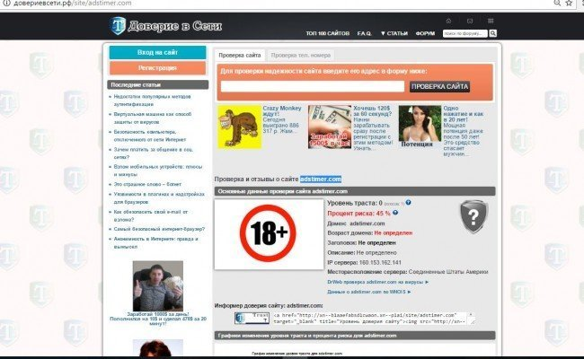 "Сайт ""adstimer.com"". Проверка на доверие."