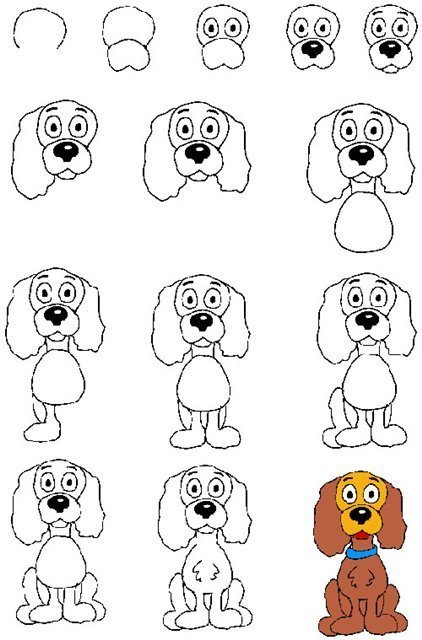Схема рисования собаки