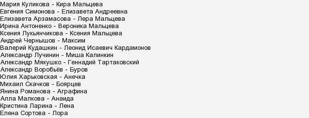 """Актеры и роли сериала """"Осиное гнездо"""""""