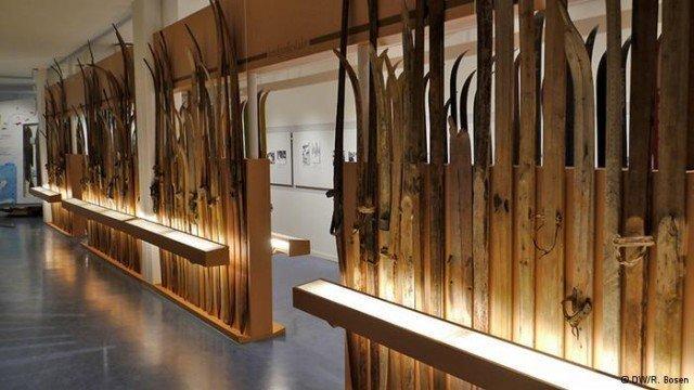 Лыжи в музее Швеции.
