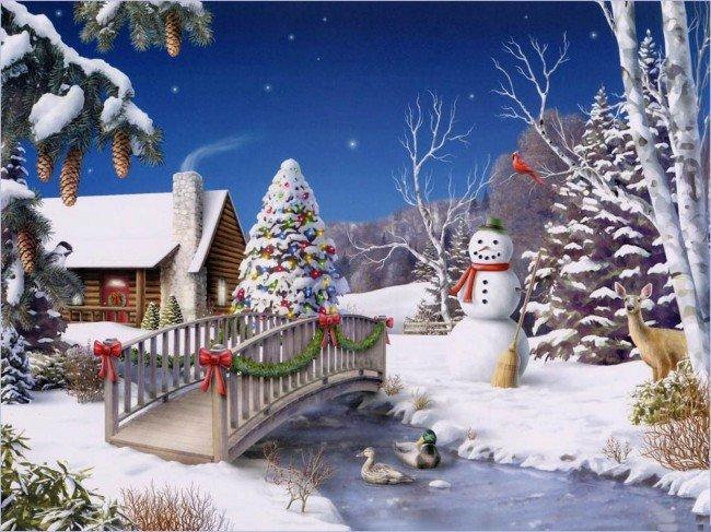 снеговик из снега на новый год