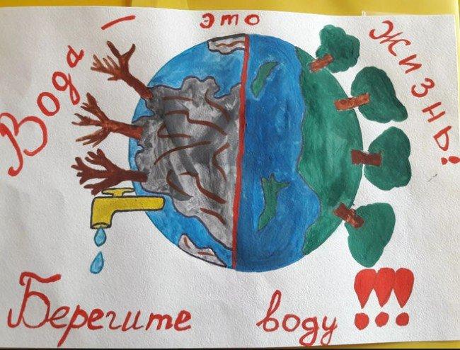 """Как нарисовать плакат для окружающего мира 3 класс на тему """"Берегите воду"""""""