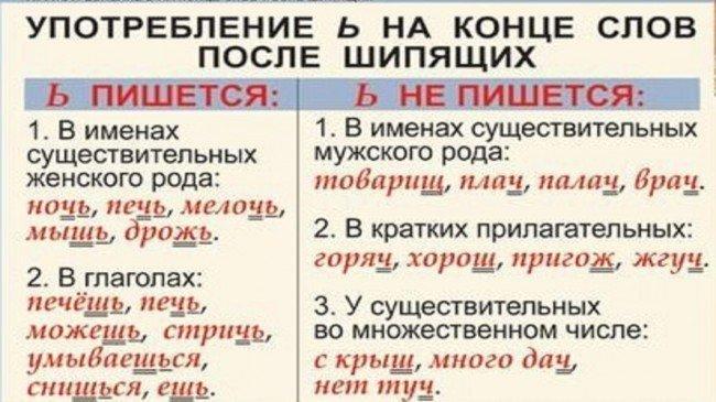 Правописание мягкого знака в конце существительных в русском языке