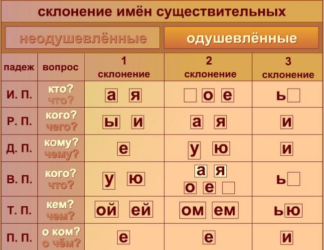 таблица склонения имён существительных