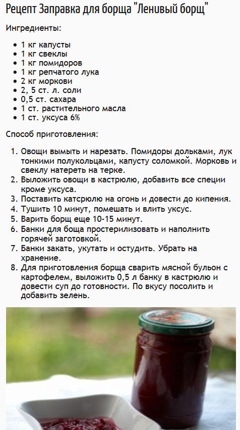 Рецепты приготовления борща на зиму