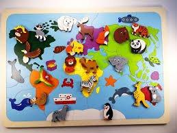 Карта мира с животными.