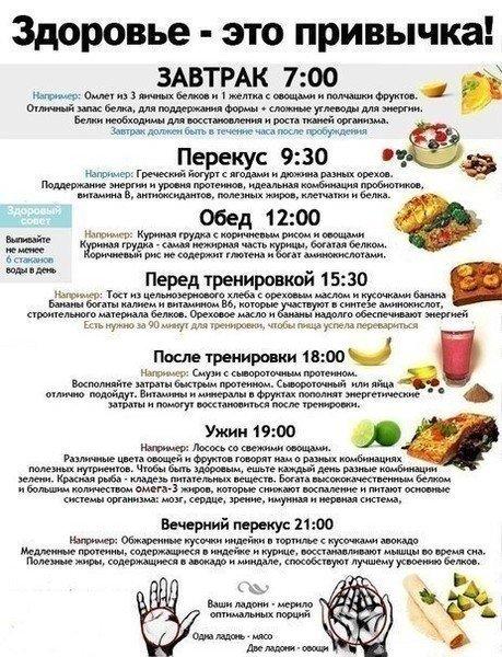 Правильное питание расписание на каждый день