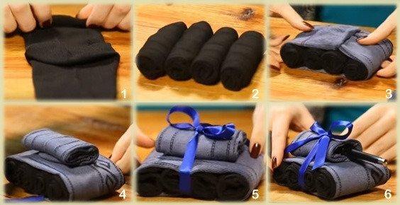 Фото букеты из носков для мужчины своими руками