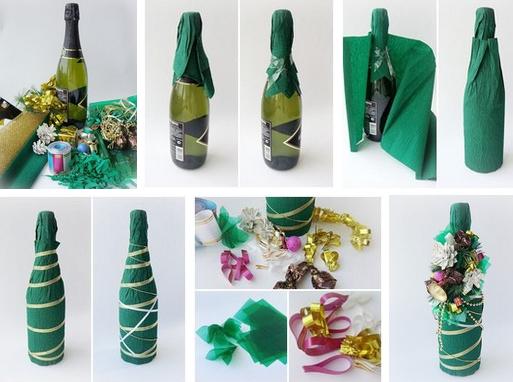 Украшенные бутылки шампанского на день рождения своими руками фото