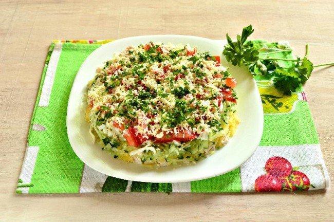Легкий салат без майонеза фотой