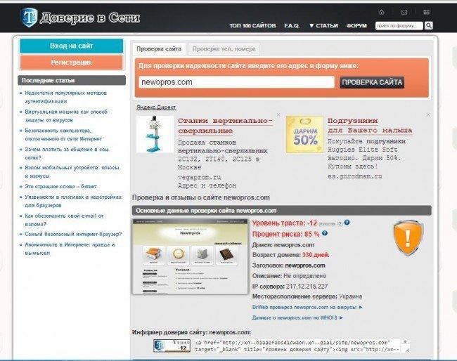 """Проверка сайта """"Newopros.com"""""""