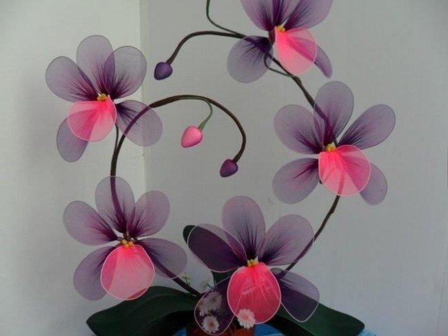 цветы из колготок
