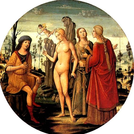 Согласно некоторым версиям мифа, сделать выбор Парису помог сын Афродиты Амур.
