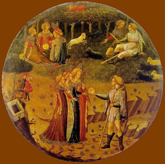 В средневековой живописи яблоко раздора изображали в виде абстрактного символа, иногда державы - символа королевской власти, и очень редко - фрукта.