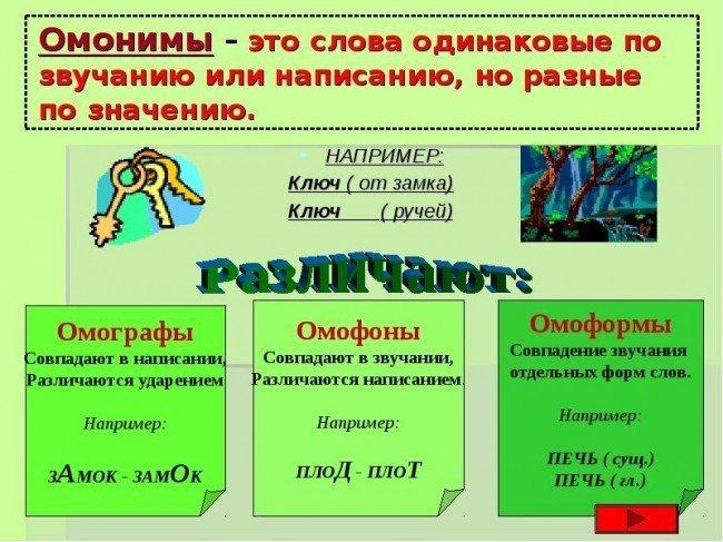 таблица Омонимы