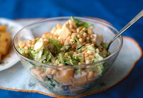 Салат с кедровыми  орешками.