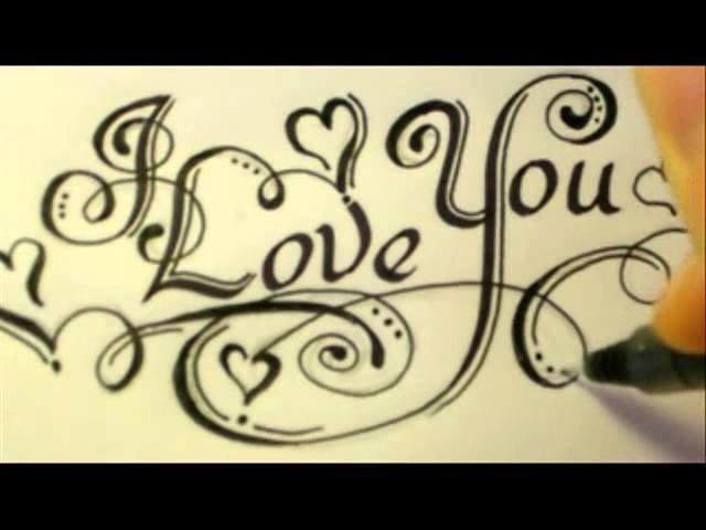 Как красиво написать фразу I Love You карандашом/ручкой поэтапно?