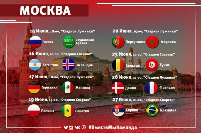 В какие дни в Москве пройдут матчи Чемпионата мира по футболу 2018