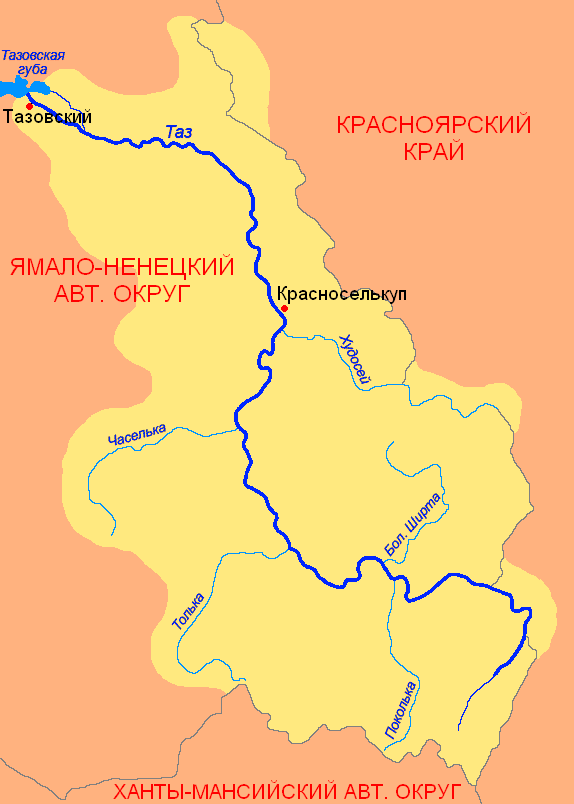 река Таз на карте