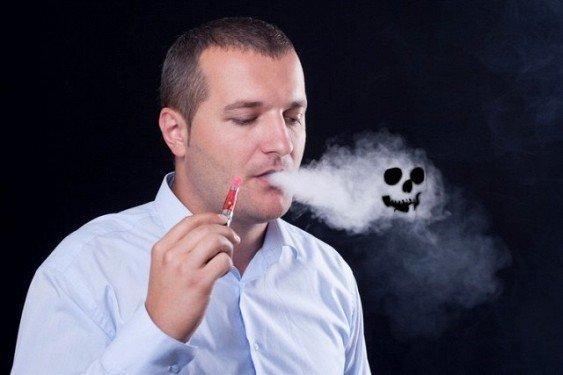 Череп в дыме электронных сигарет