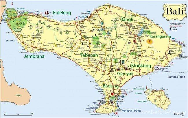 расположение острова Бали
