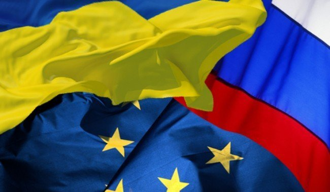 Флаг РФ, ЕС и Украина