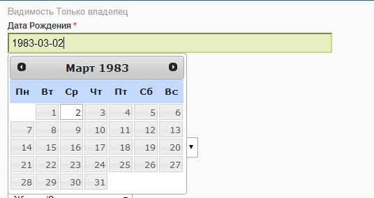"""Как заполнить """"Дата рождения"""" в редактировании профиля на vovet.ru?"""