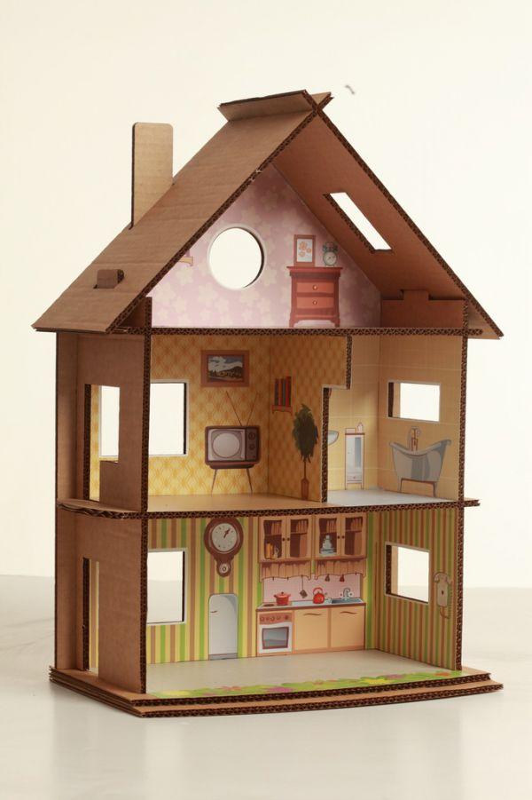 Что сделать кукольный дом из картона своими руками