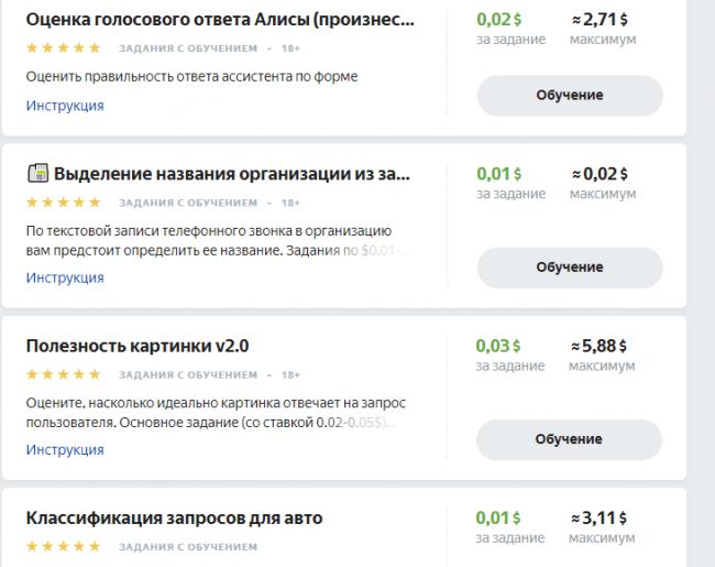 Примеры заданий Яндекс.Толока.